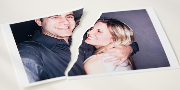 Photograph of couple ripped in half